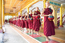 Monks in a monastery going for lunch in Myanmar by nilaya