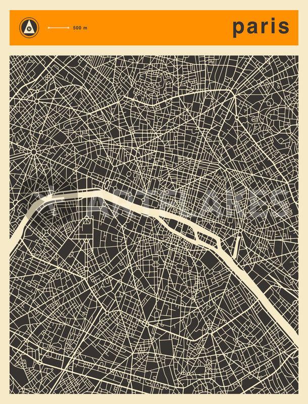 Paris Map Digital Art Art Prints And Posters By Jazzberry Blue