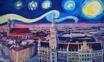 Sternennacht in München - Van Gogh Inspirationen mit Frauenkirche und Rathaus von M.  Bleichner