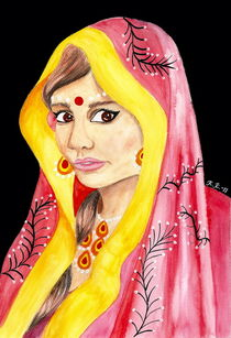 Bengali Princess - India Inspired Watercolor Art von Katri Ketola