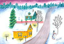 Christmas Townscape Illustration - Watercolor Painting von Katri Ketola