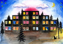 Christmas Windows - Cityscape Watercolor Painting  von Katri Ketola