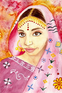 Indian Girl in a Sari- Watercolor Painting von Katri Ketola