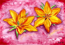 Orange Lily - Watercolor Painting von Katri Ketola