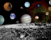 Montage of the planets and Jupiter's moons. by Stocktrek Images