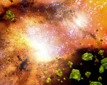 Green crystals in a pair of colliding galaxies. by Stocktrek Images