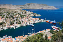 The ships in the harbour of Symi by Sergey Tsvetkov