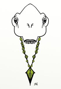 Alien Rocking a Gold Chain by Vincent J. Newman