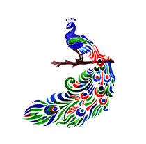 Peacock watercolor art von Luba Ost