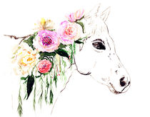 Horse with flowers von Luba Ost