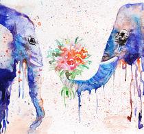 Elephants, watercolor elephants, blue elephants von Luba Ost