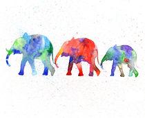 Family elephants, watercolor elephants, blue elephant  by Luba Ost