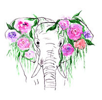 Elephants, watercolor elephant, elephant with flowers von Luba Ost