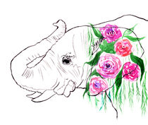 Elephant, watercolor elephant, elephant with roses, pink roses von Luba Ost