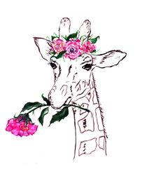 Giraffe, Giraffe with flower, animal, nature von Luba Ost