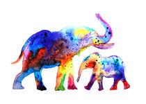 Elephants, watercolor elephants, animal, nature by Luba Ost