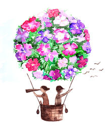 travelers , watercolor , flower balloon by Luba Ost