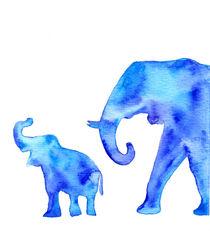 Blue elephants by Luba Ost
