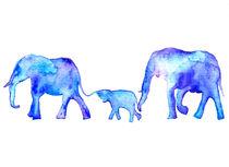 Blue elephants, watercolor elephants von Luba Ost