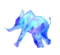 Blue elephant, watercolor elephant von Luba Ost