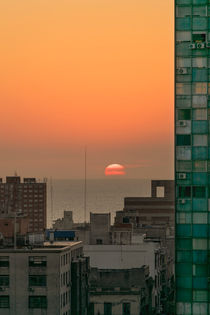 Aerial View of Sunset at the River in Montevideo Uruguay by Daniel Ferreira Leites Ciccarino