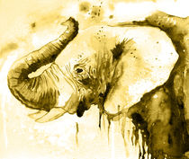 Elephant, golden elephant, watercolor, nature, animal by Luba Ost