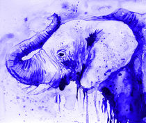Blue elephant, watercolor, nature, animals  von Luba Ost