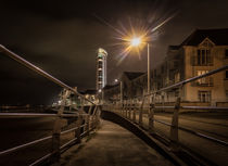 Swansea promenade at night by Leighton Collins