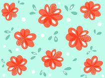 Cheerful Decorative Red Flowers von Boriana Giormova