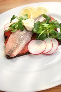 Matjes auf Pumpernickel mit Salat