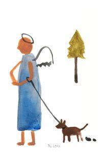 Engel mit Hund von Doris Lasar