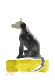 Hund, sitzend von Doris Lasar