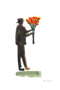 Mann mit Blumenstraß von Doris Lasar