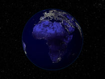 Full Earth at night showing Africa and Europe. von Stocktrek Images