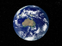 Fully lit Earth centered on Australia and Oceania. von Stocktrek Images