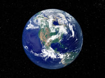 Fully lit Earth centered on North America. von Stocktrek Images