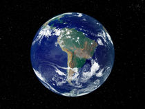 Fully lit Earth centered on South America. by Stocktrek Images