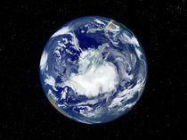 Fully lit Earth centered on the South Pole. von Stocktrek Images