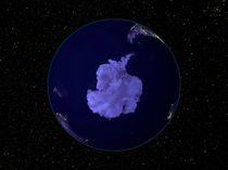 Earth at night centered on the South Pole. by Stocktrek Images
