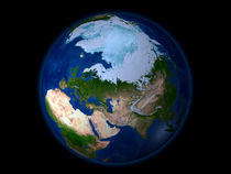 Full Earth showing the Arctic region. by Stocktrek Images