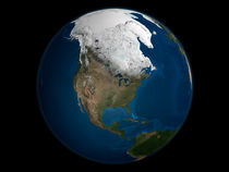 North America with Arctic sea ice von Stocktrek Images