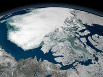 Arctic sea ice above North America von Stocktrek Images