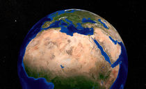 Earth showing North Africa. by Stocktrek Images