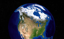 Earth showing the USA, Canada and Greenland. by Stocktrek Images