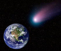 Digital composite of a comet heading towards Earth von Stocktrek Images