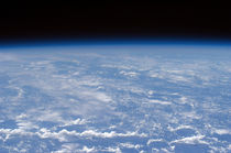 An oblique horizon view of the Earth's atmosphere.
