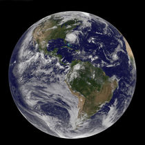 Full Earth with Hurricane Irene visible. by Stocktrek Images