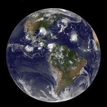 Full Earth showing tropical storms in the Atlantic by Stocktrek Images
