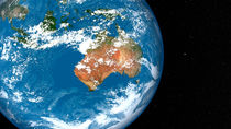Planet Earth showing clouds over Australia. by Stocktrek Images