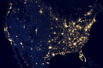 City lights of the United States at night. by Stocktrek Images